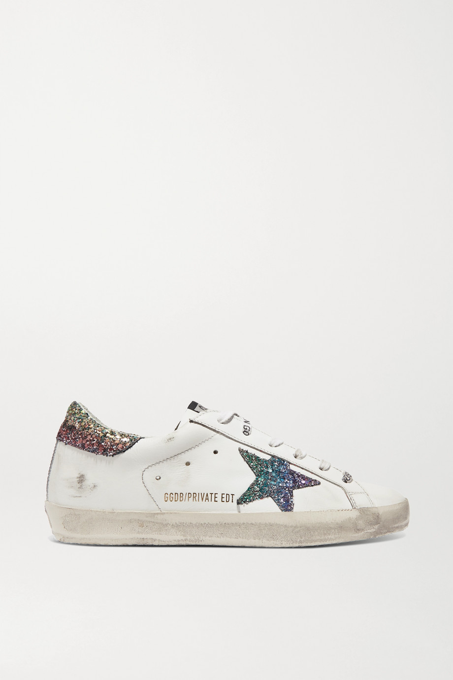 GOLDEN GOOSE Superstar glittered distressed leather sneakers