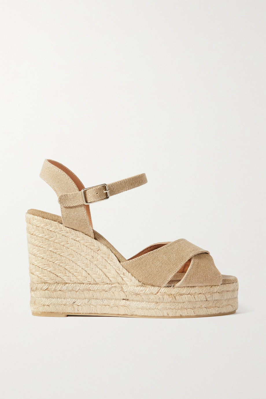 CASTAÑER + NET SUSTAIN Blaudel 100 canvas wedge sandals
