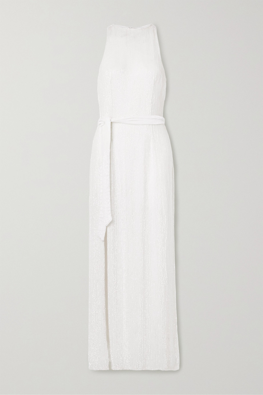RETROFÊTE Tilly belted sequined chiffon maxi dress