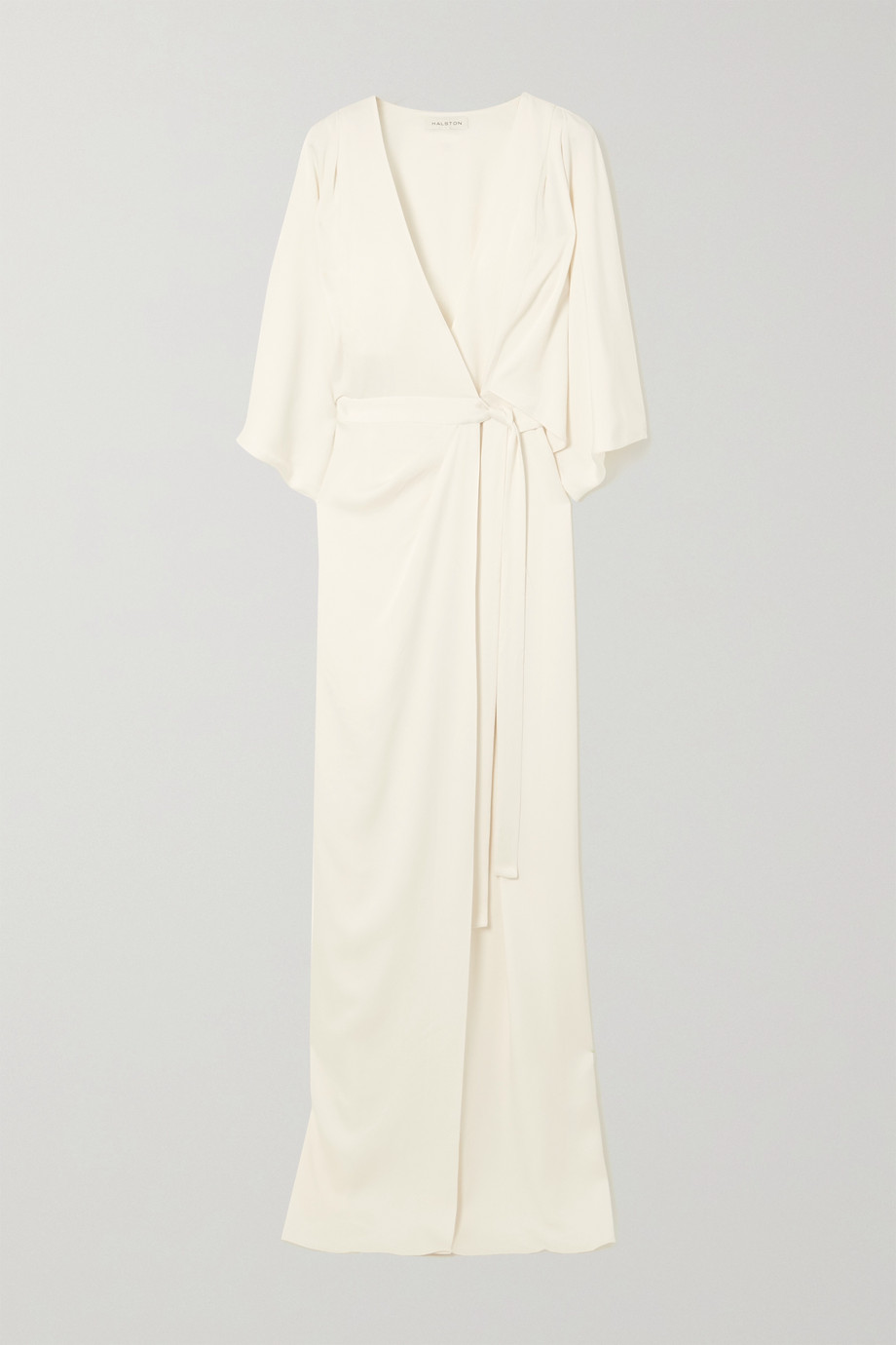 HALSTON HERITAGE Draped satin wrap gown