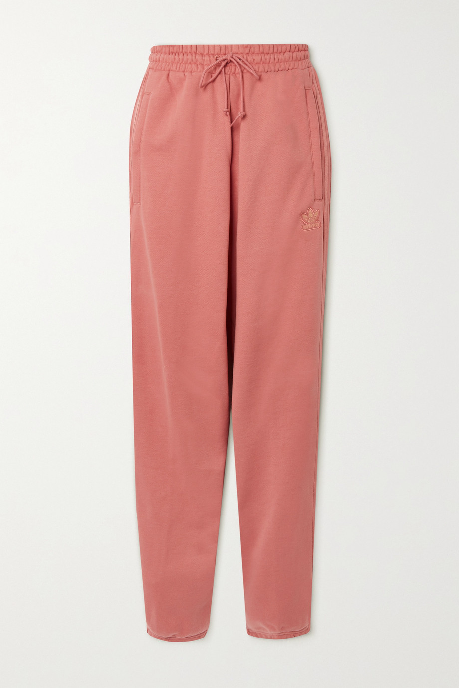 ADIDAS ORIGINALS Metallic-striped French cotton-terry track pants
