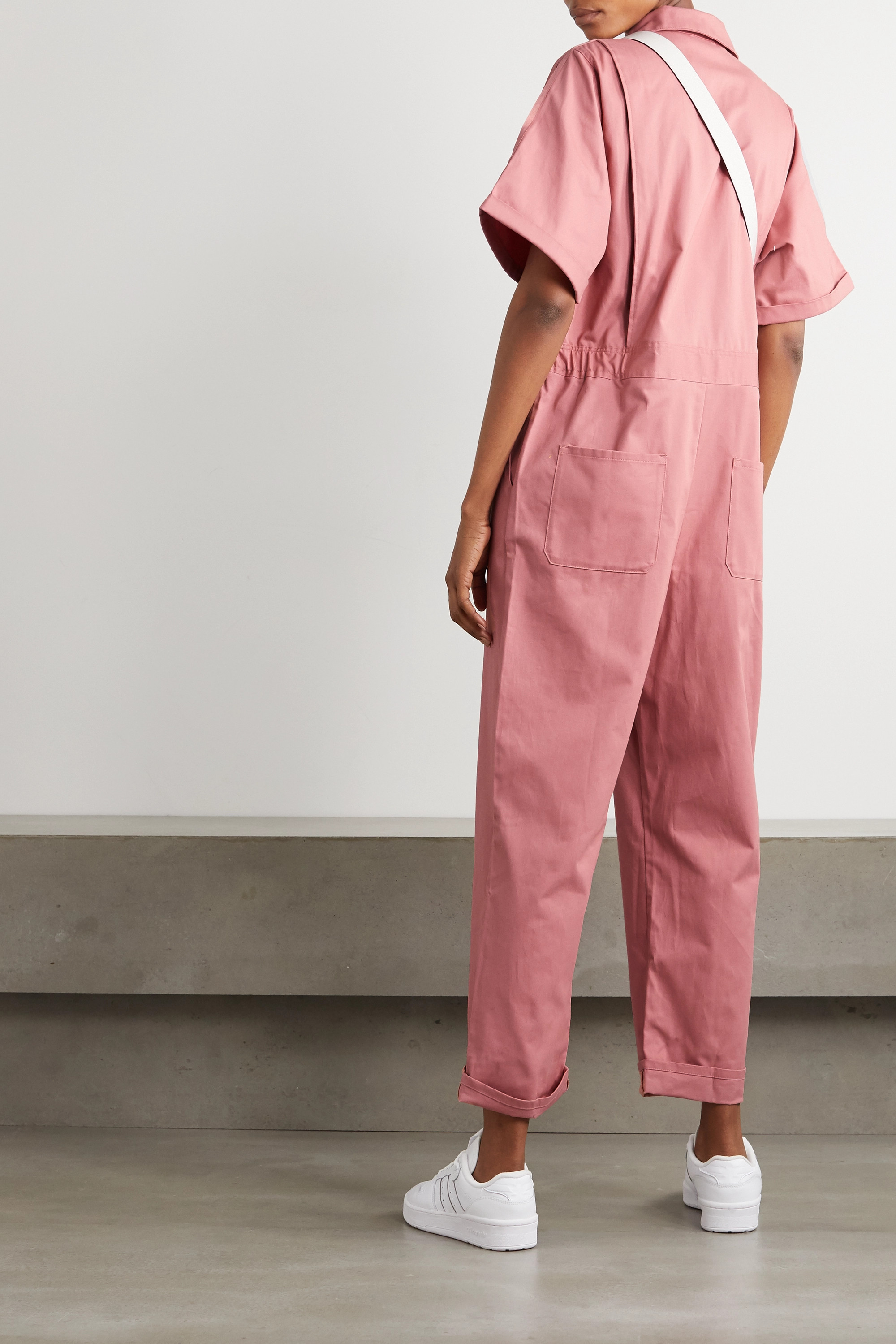 ADIDAS ORIGINALS Striped cotton-twill jumpsuit