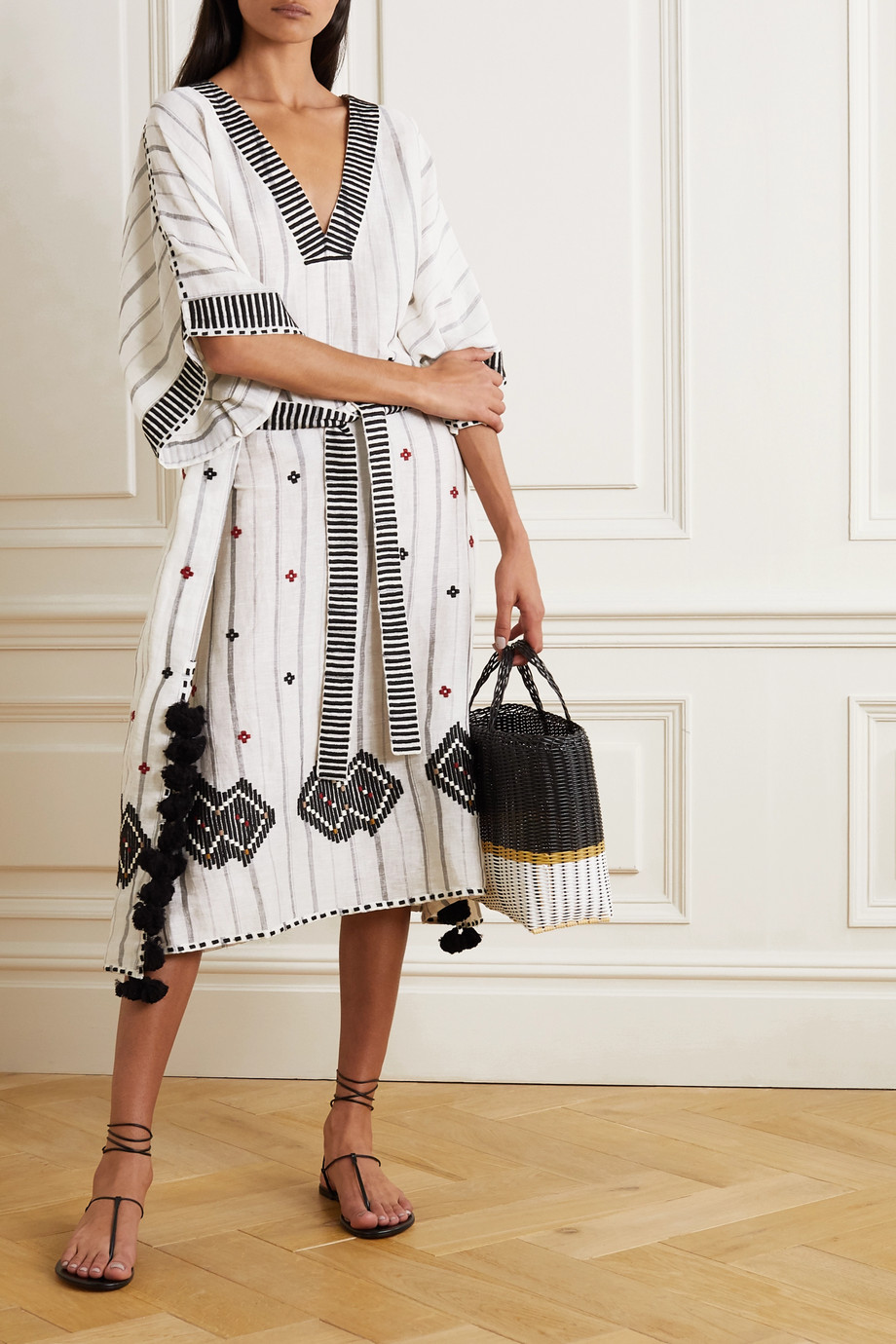 ERES Clara tasseled embroidered striped linen and cotton-blend kaftan