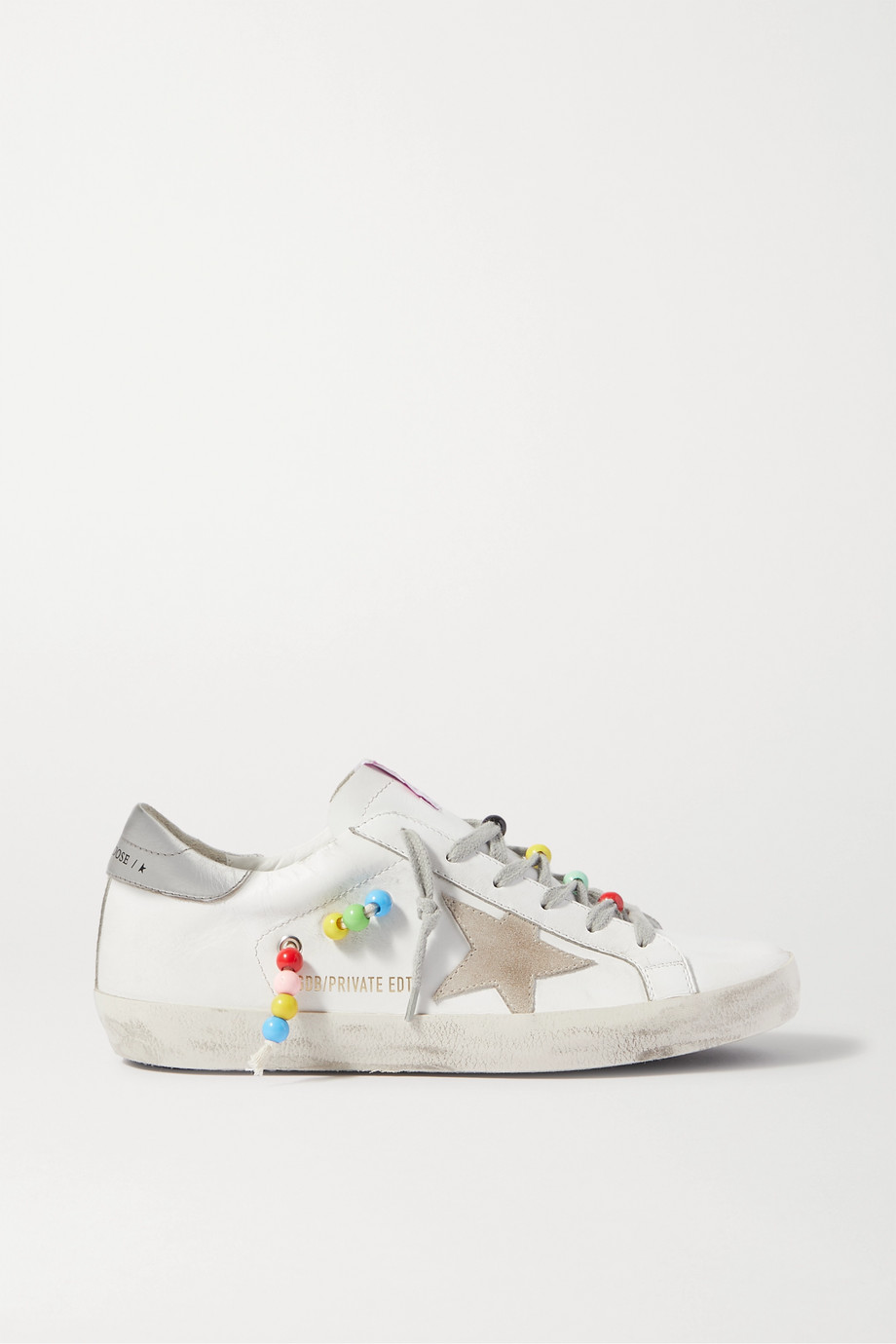 GOLDEN GOOSE Superstar bead-embellished distressed leather and suede sneakers