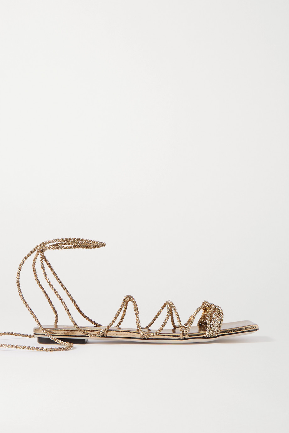 Serena Uziyel Ophilia metallic braided rope and leather sandals