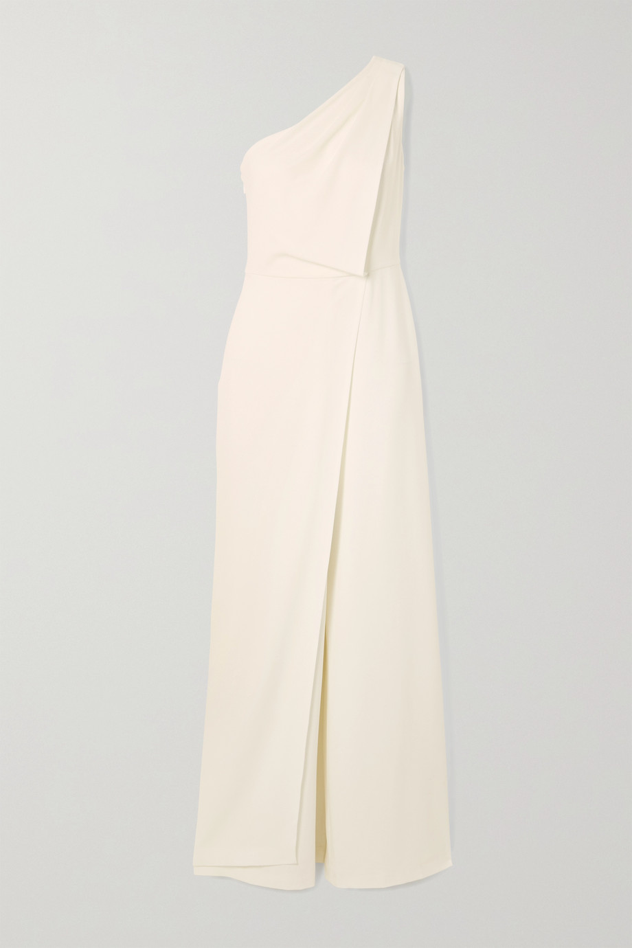 HALSTON HERITAGE One-shoulder draped crepe jumpsuit