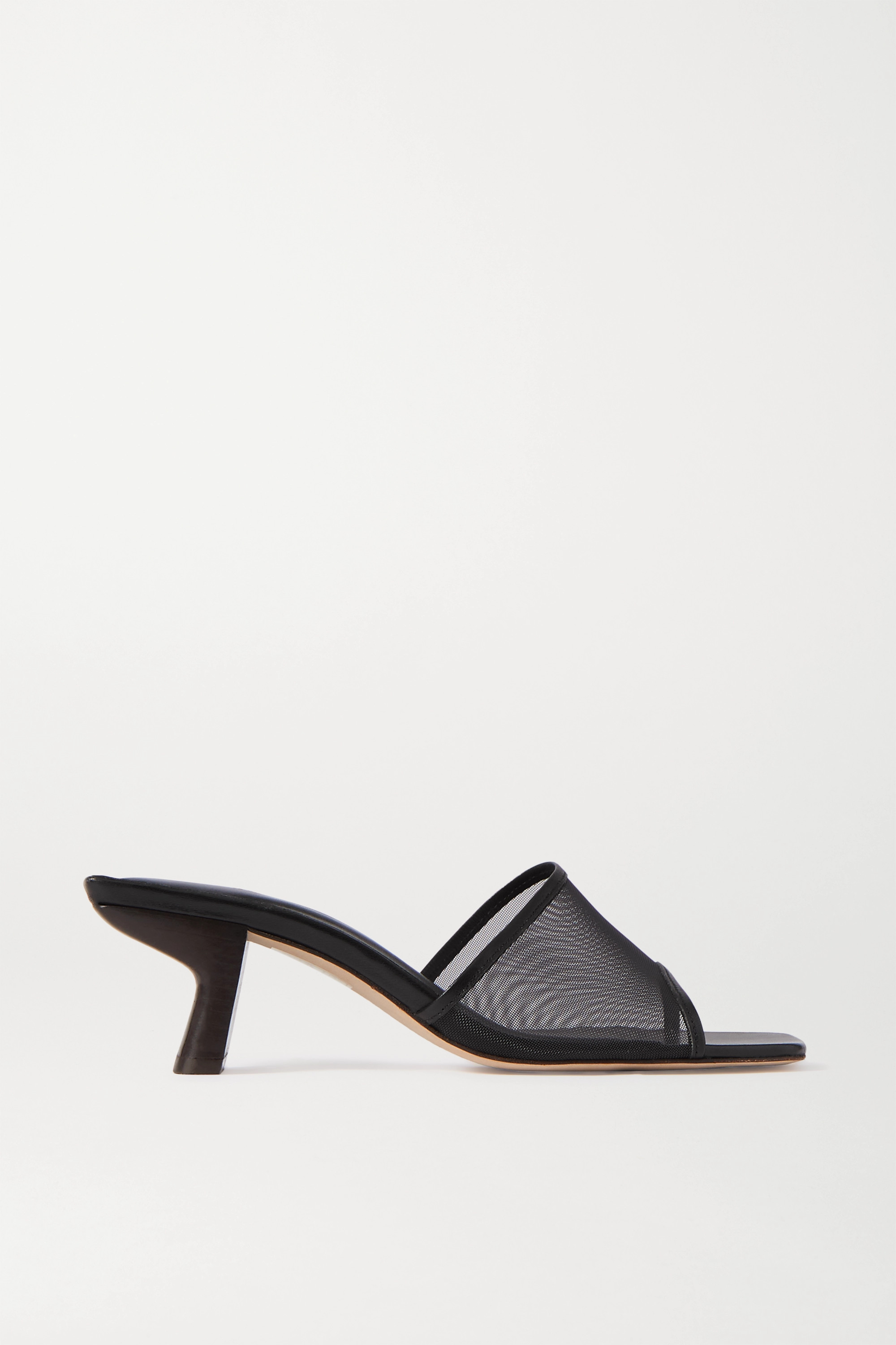 BY FAR Lily leather-trimmed mesh mules