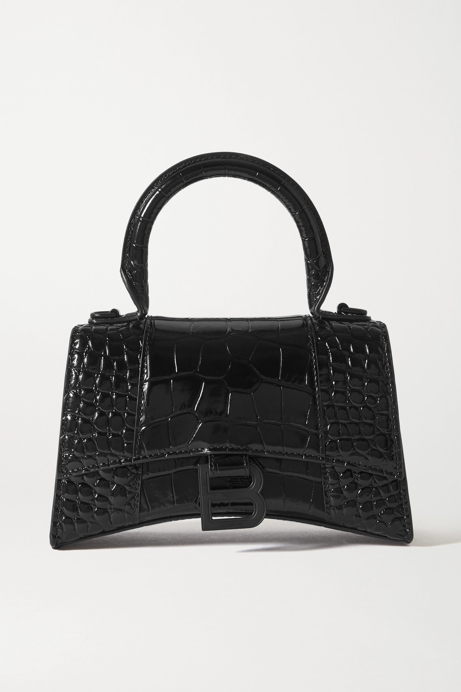 BALENCIAGA Hourglass mini croc-effect leather tote