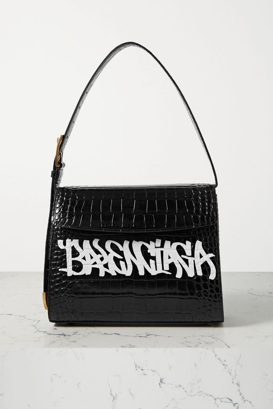 Balenciaga Ghost printed croc-effect leather shoulder bag