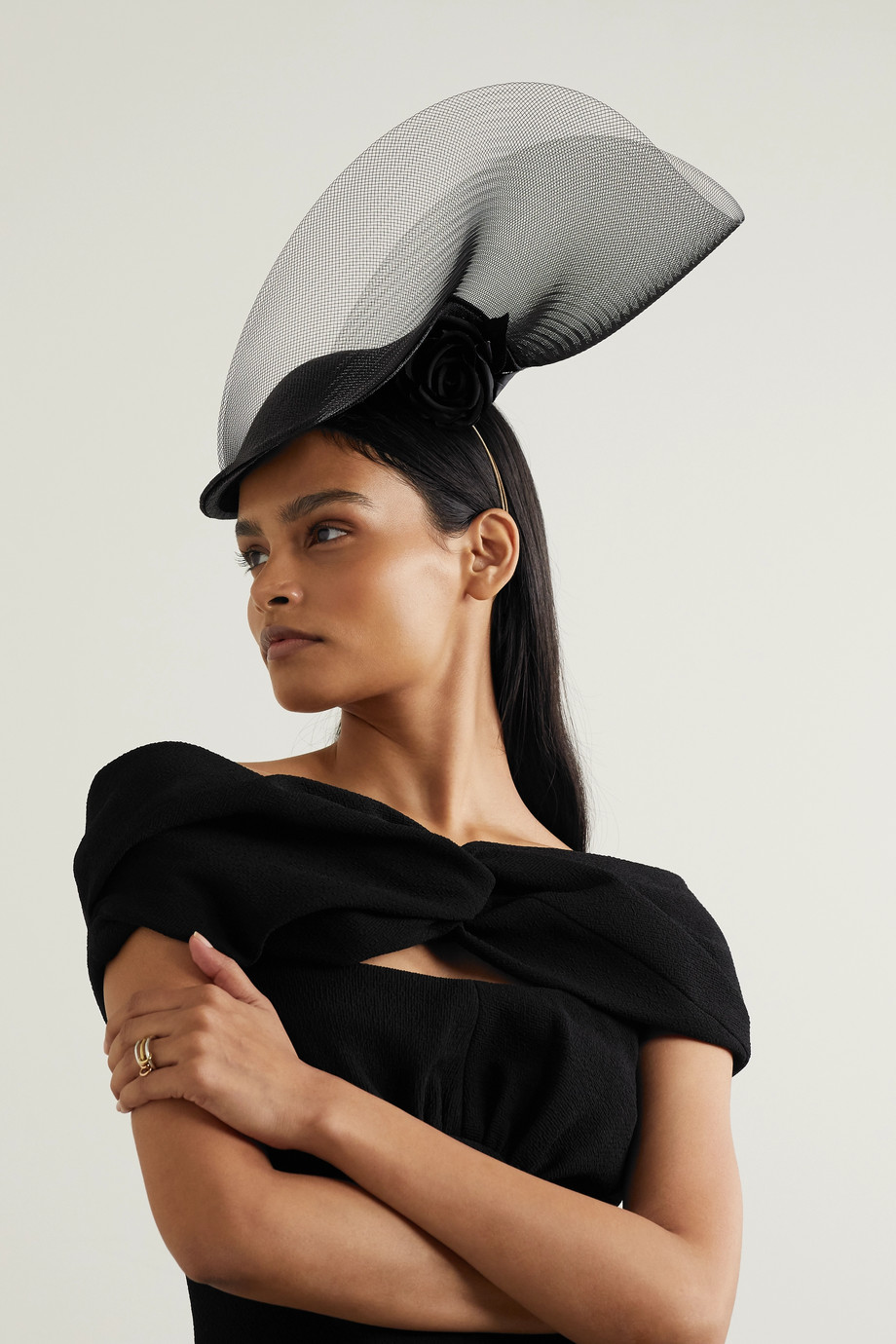 PHILIP TREACY Embellished satin, tulle and straw fascinator