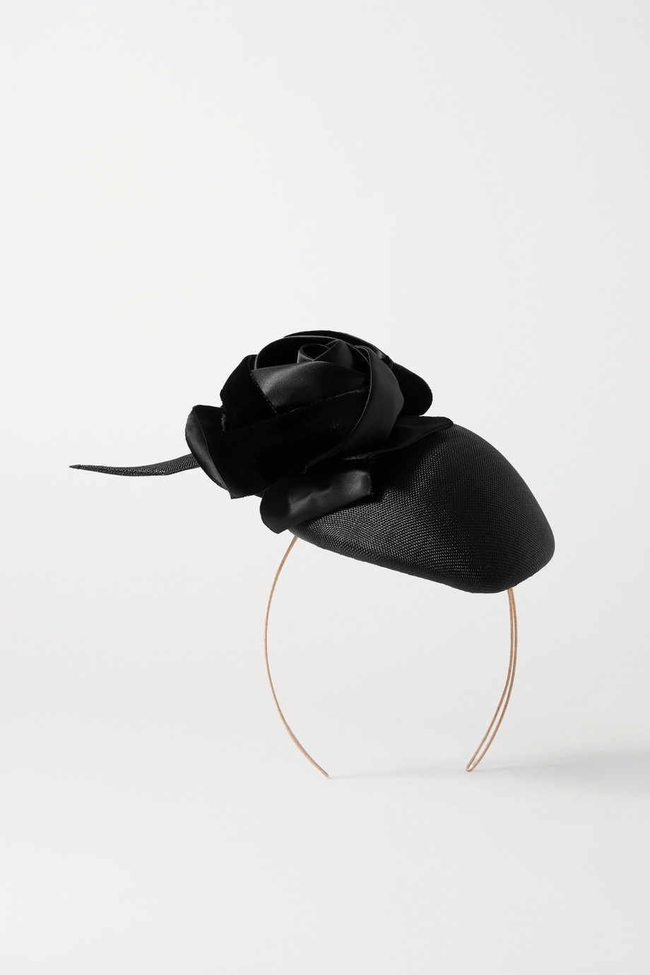 PHILIP TREACY Embellished satin and straw fascinator