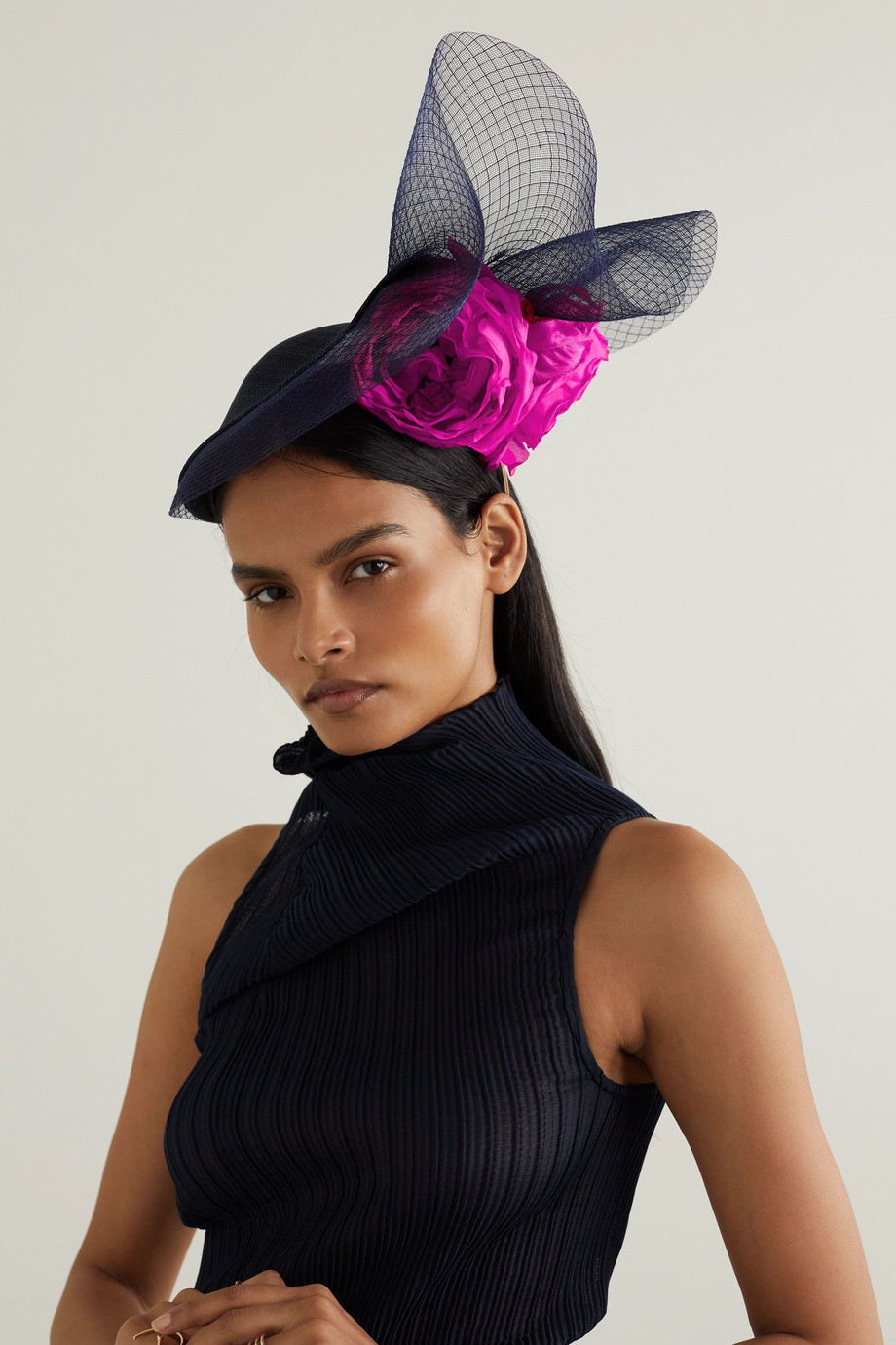 PHILIP TREACY Embellished straw and tulle fascinator