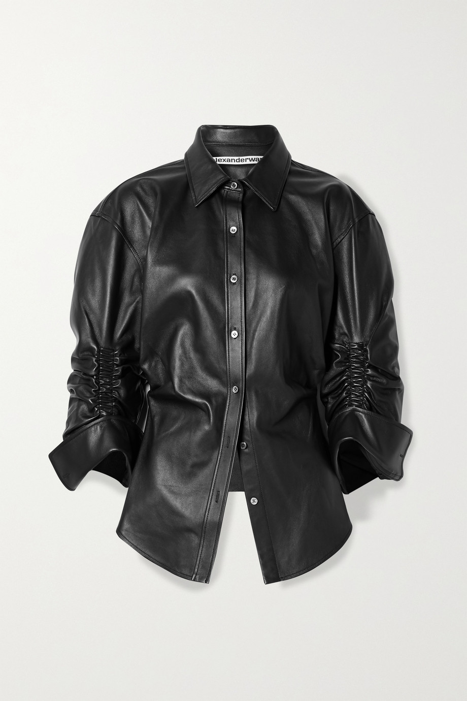 ALEXANDER WANG Ruched leather shirt
