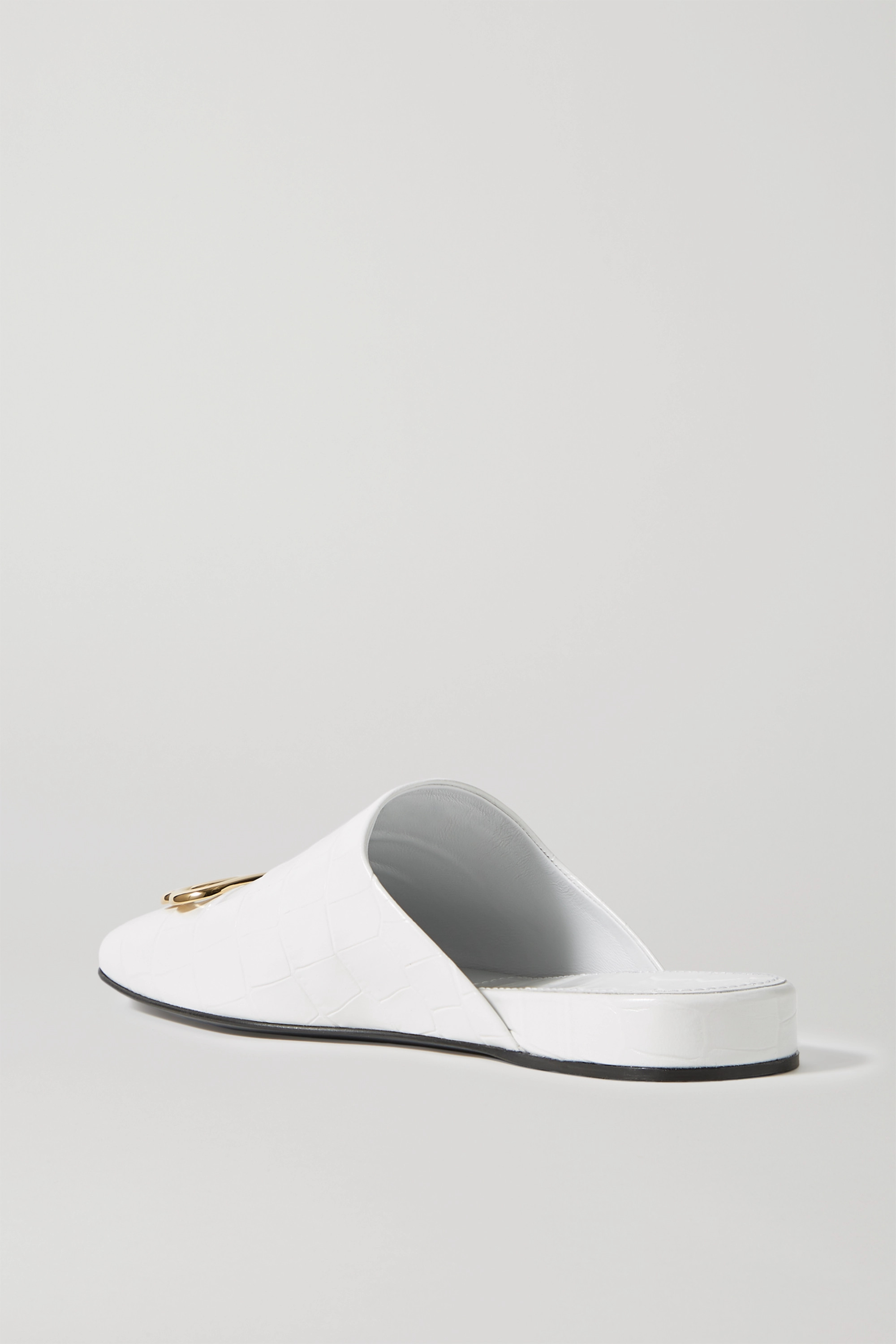 BALENCIAGA Cosy BB logo-embellished croc-effect leather slippers