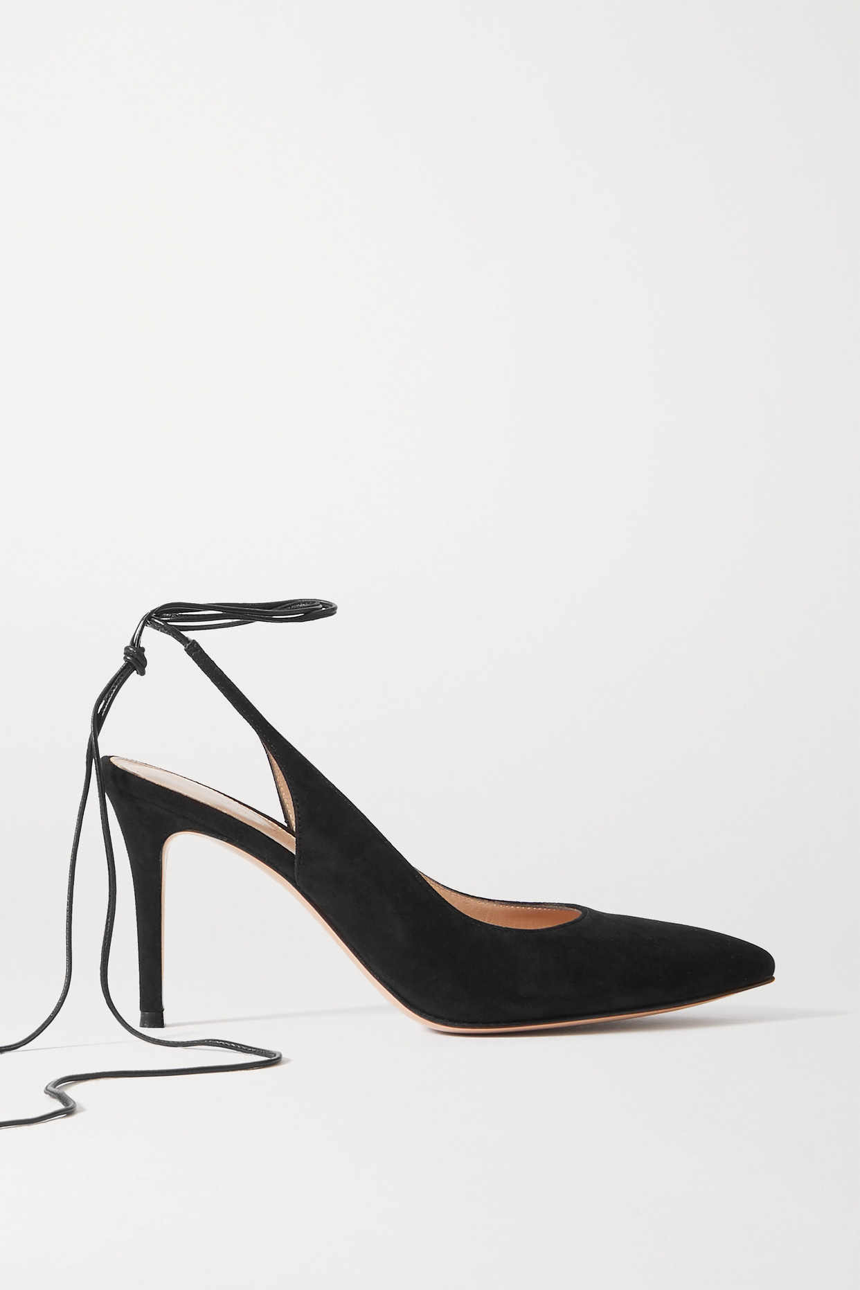 GIANVITO ROSSI - 85 Leather-trimmed Suede Pumps - Black - IT41
