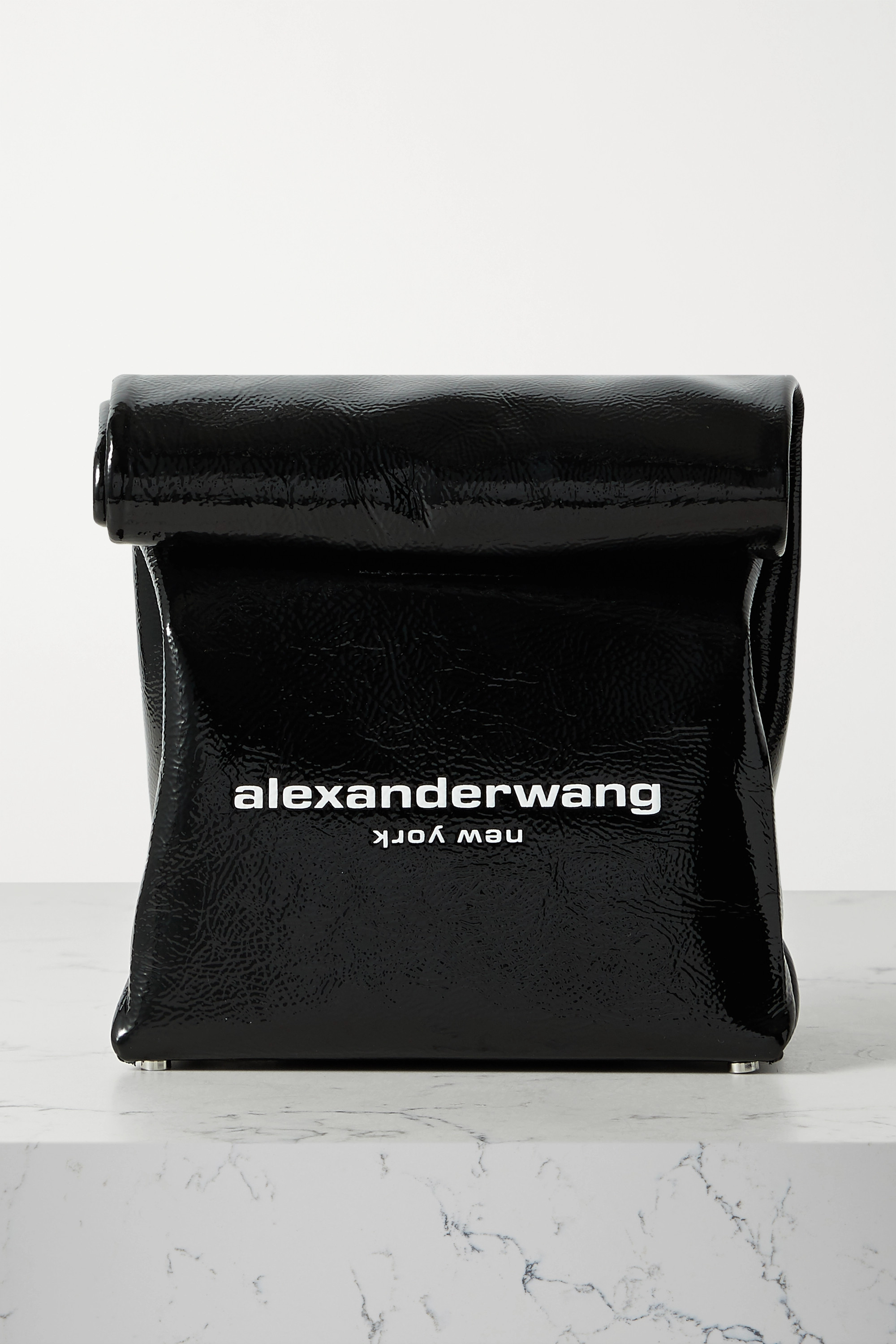 ALEXANDER WANG Lunch Bag printed patent-leather clutch