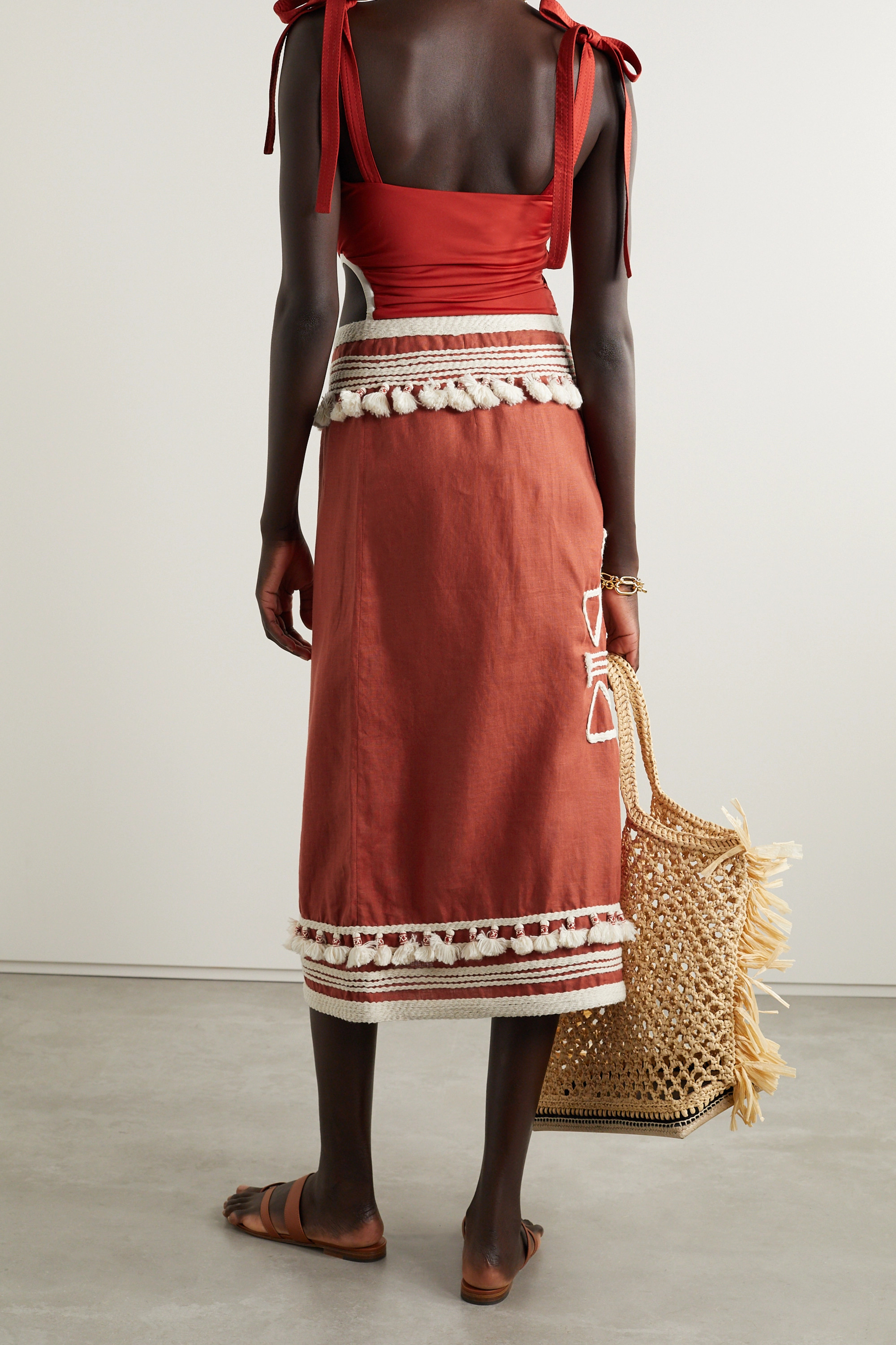 JOHANNA ORTIZ + NET SUSTAIN Eastern Frontier embroidered linen and cotton-blend wrap skirt