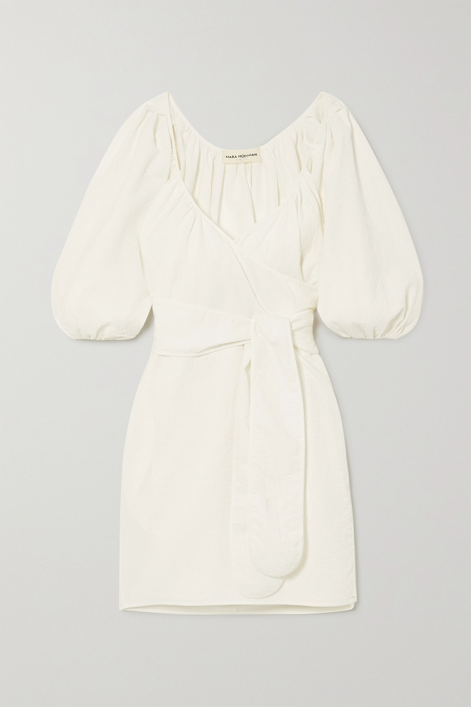 MARA HOFFMAN + NET SUSTAIN x LG Electronics Coletta crinkled organic cotton wrap mini dress