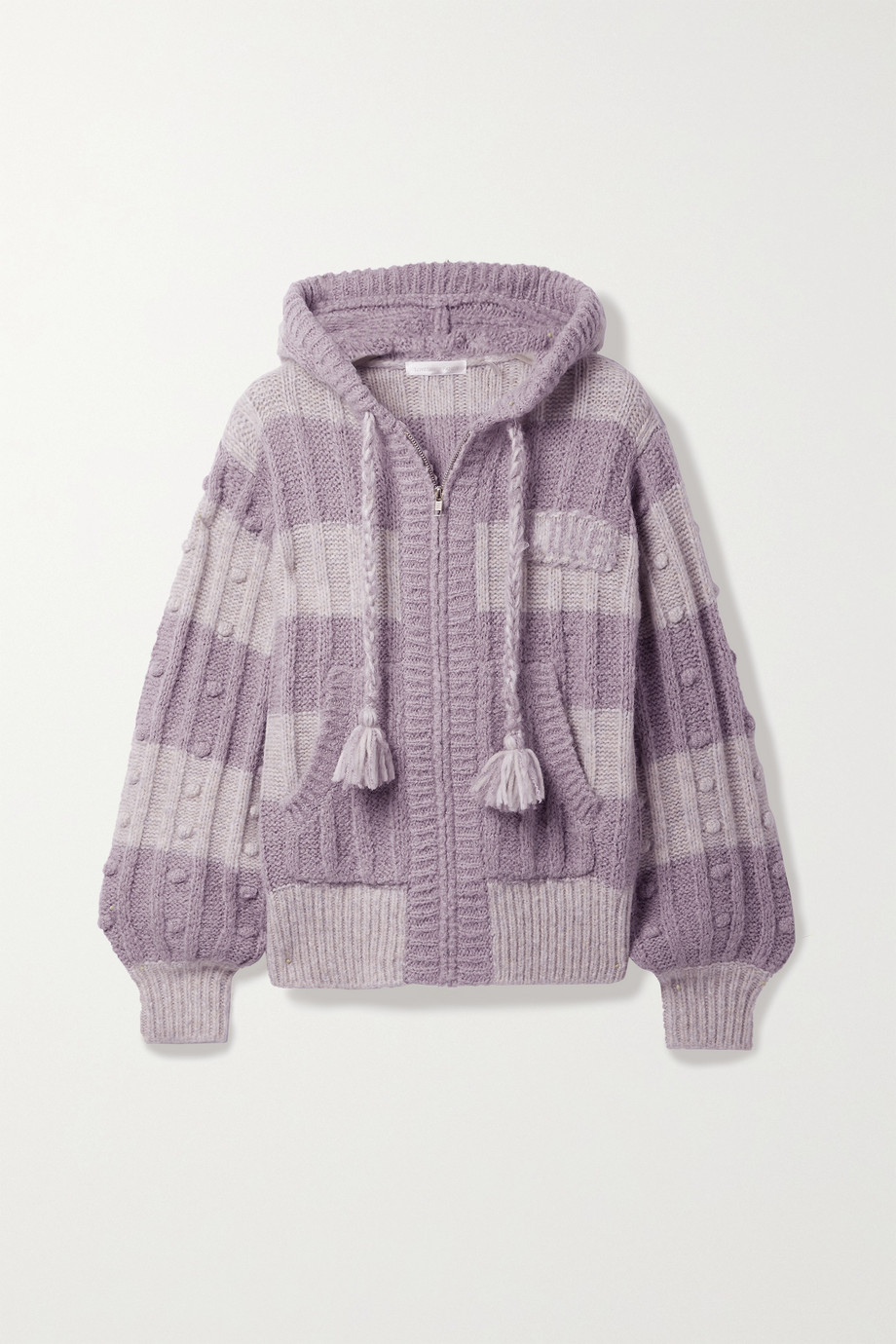 LOVESHACKFANCY Tirzah striped knitted hoodie