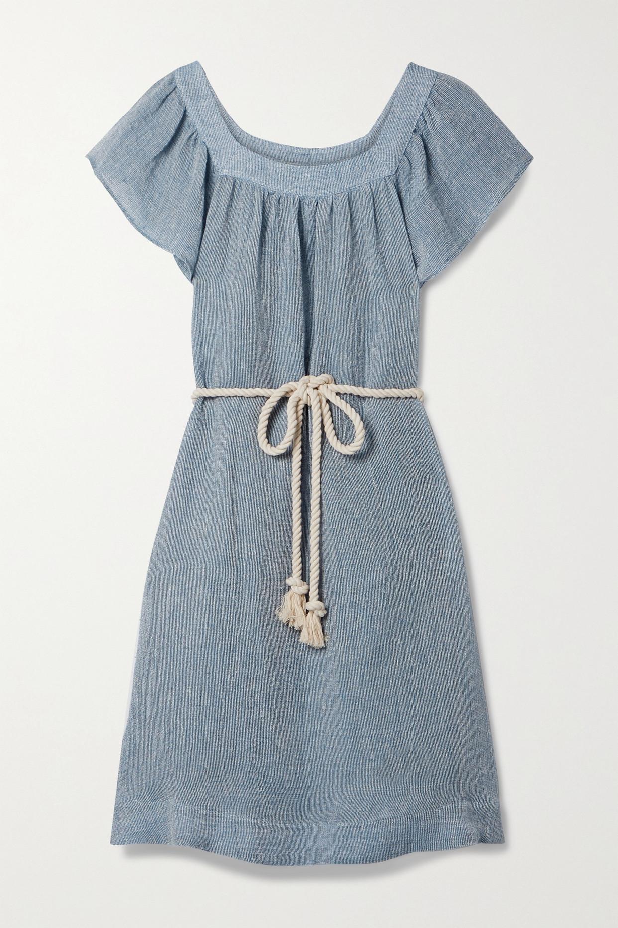 LISA MARIE FERNANDEZ - 【net Sustain】muu Muu 配腰带亚麻混纺薄纱中长连衣裙 - 蓝色 - 3