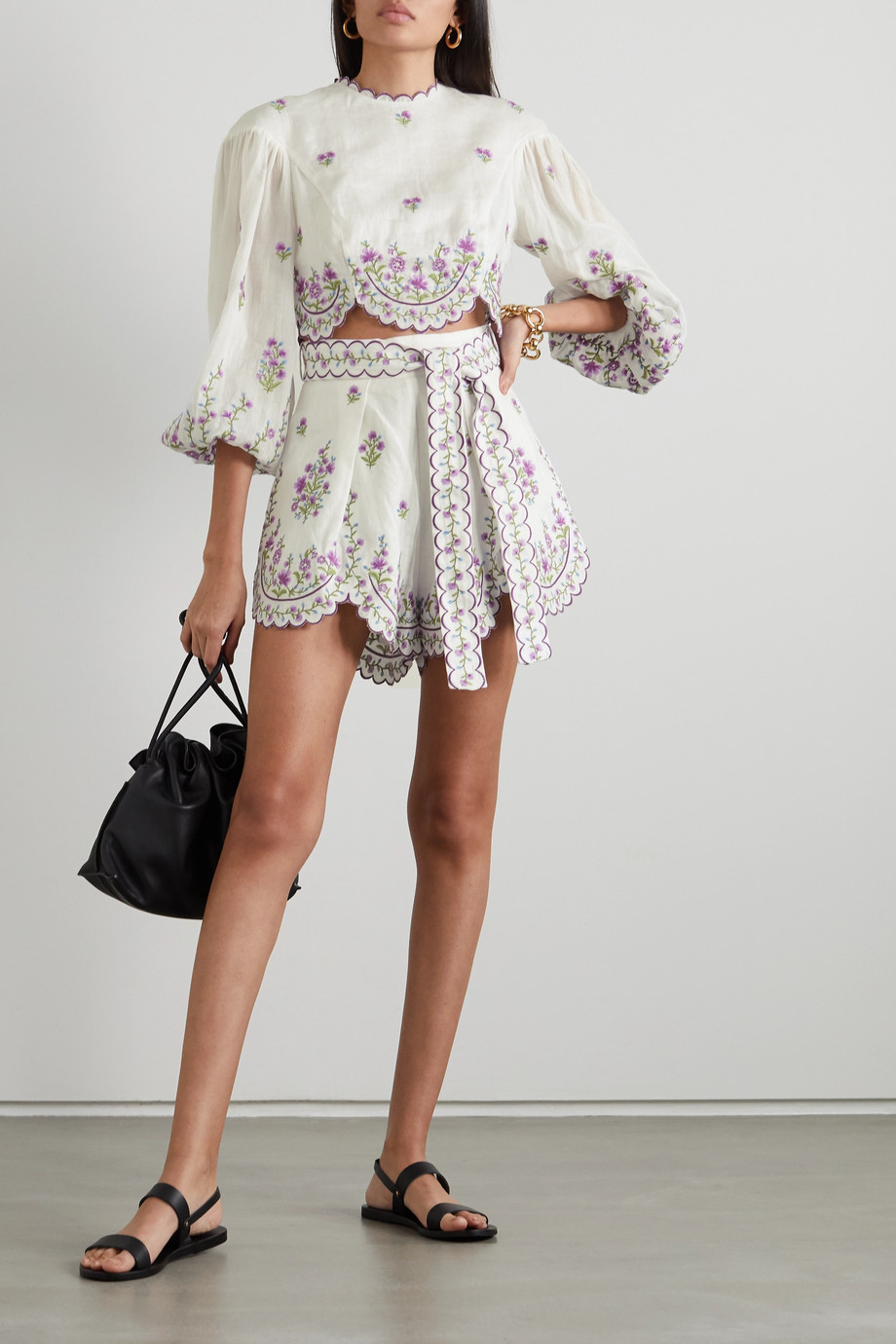 ZIMMERMANN Poppy cropped scalloped embroidered linen and ramie top