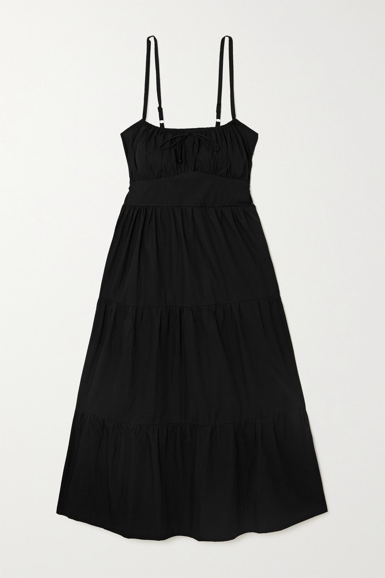 FAITHFULL THE BRAND - + Net Sustain Alexia Leopard-print Gathered Cotton-poplin Midi Dress - Black -