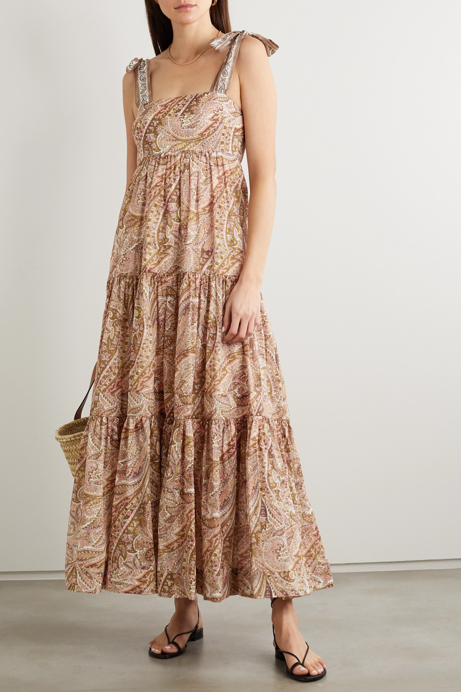 ZIMMERMANN Brighton tie-detailed tiered paisley-print cotton maxi dress