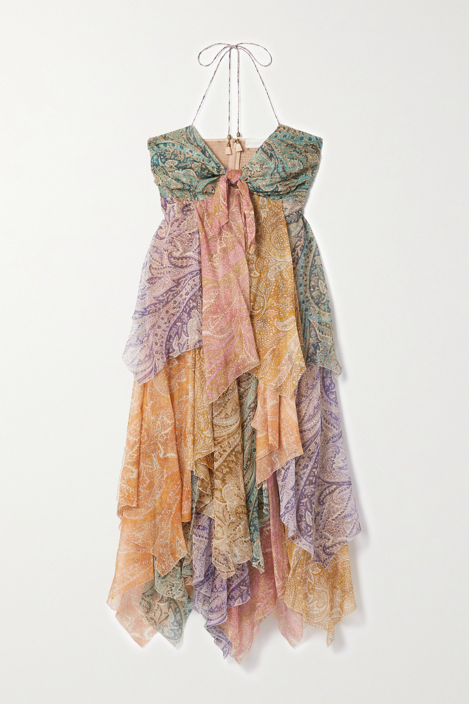 ZIMMERMANN Brighton tiered patchwork paisley-print silk-crepon midi dress