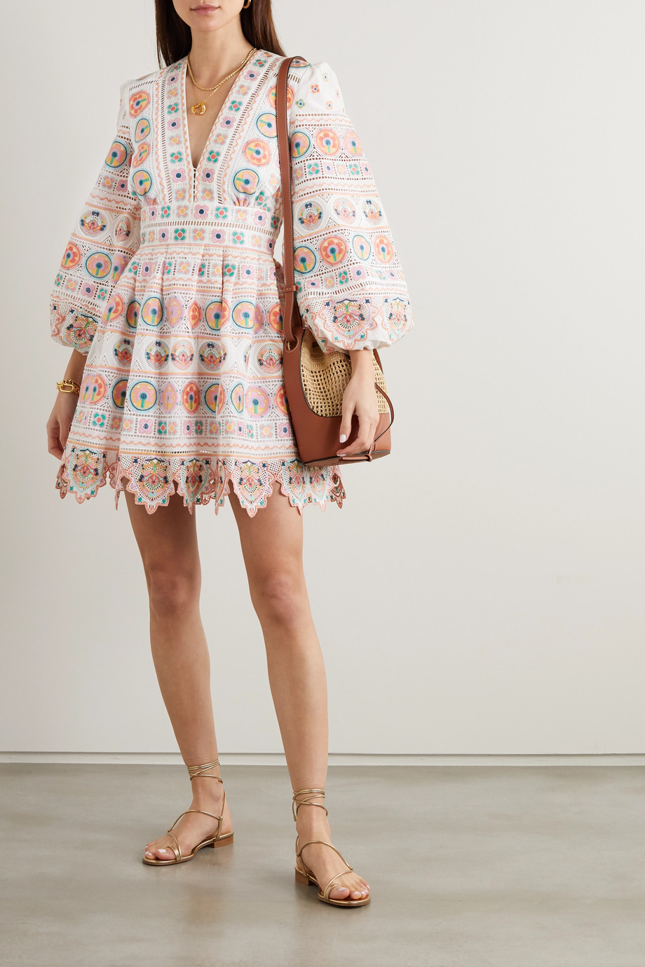 ZIMMERMANN Brighton scalloped embroidered cotton mini dress
