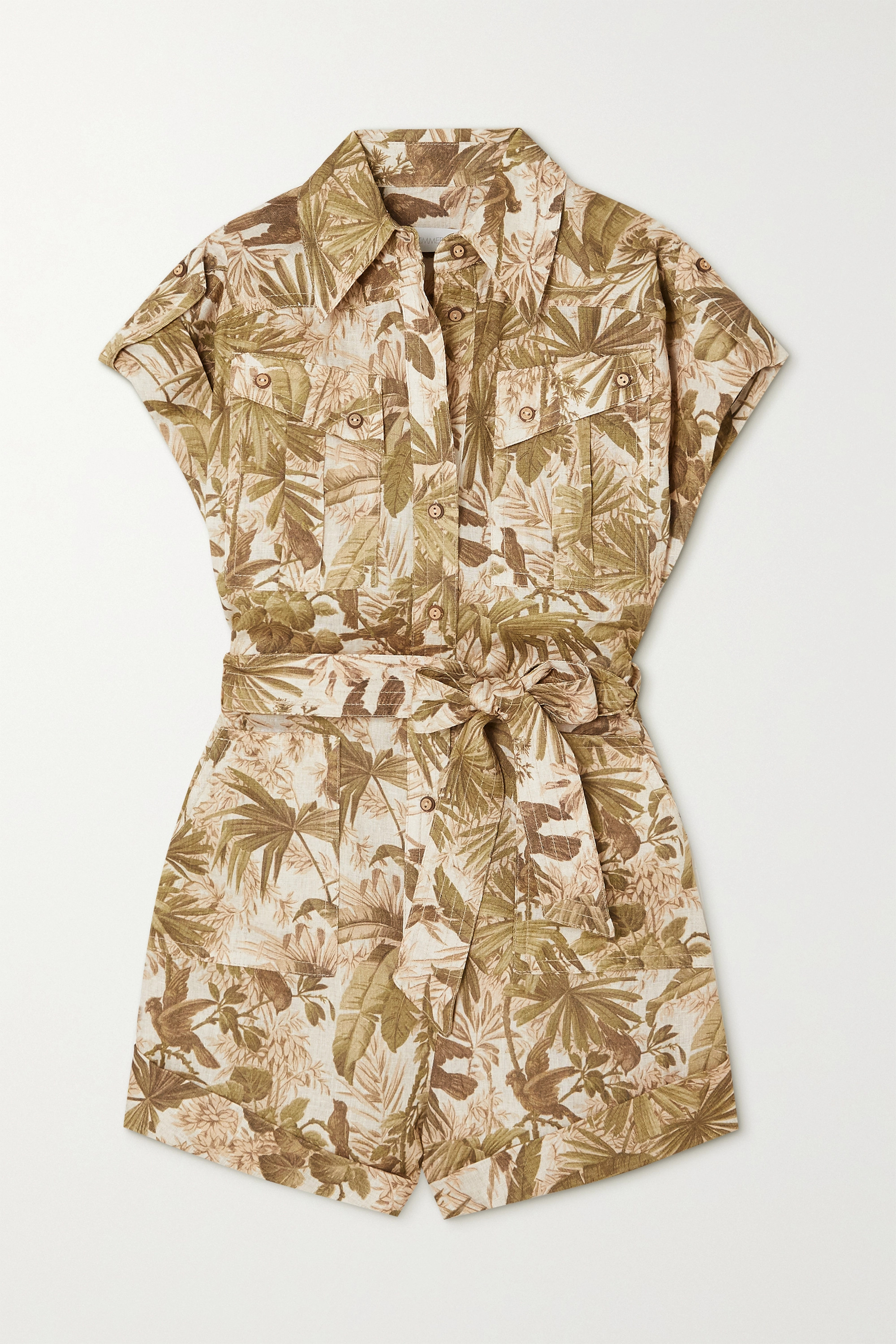 ZIMMERMANN Brighton belted printed linen playsuit