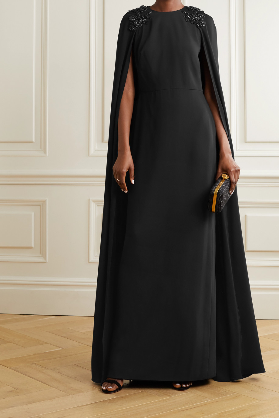 MARCHESA NOTTE Cape-effect embellished crepe gown