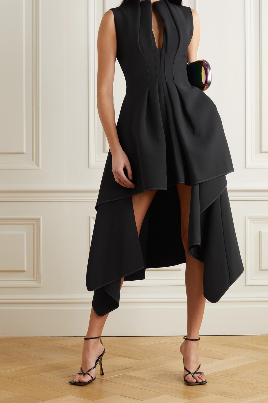MATICEVSKI Inhibit asymmetric draped cady dress