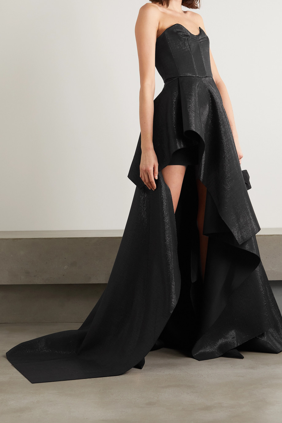 MATICEVSKI Intoxicating off-the-shoulder draped lamé gown