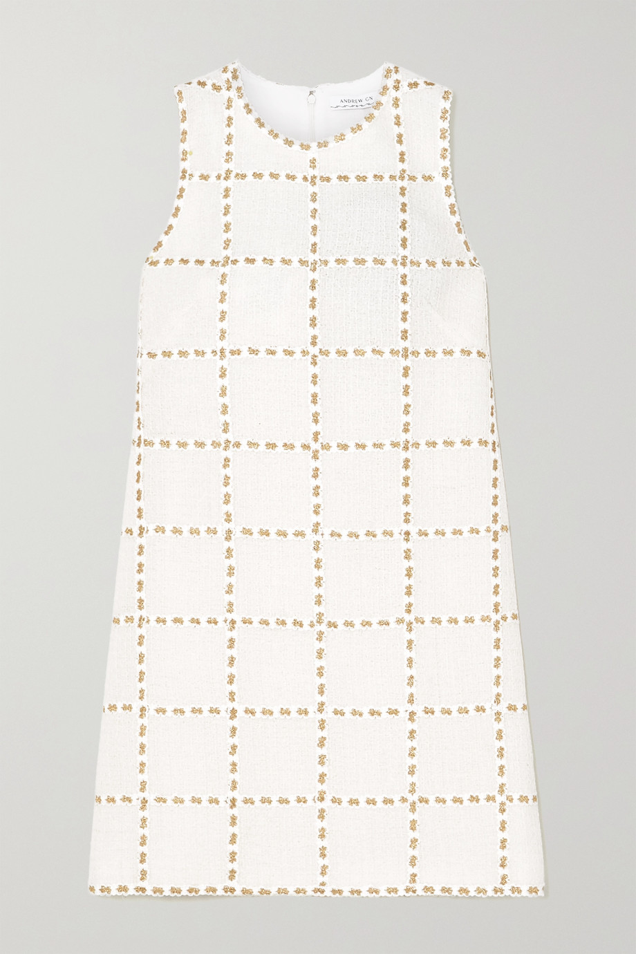 ANDREW GN Metallic embroidered wool-blend tweed mini dress