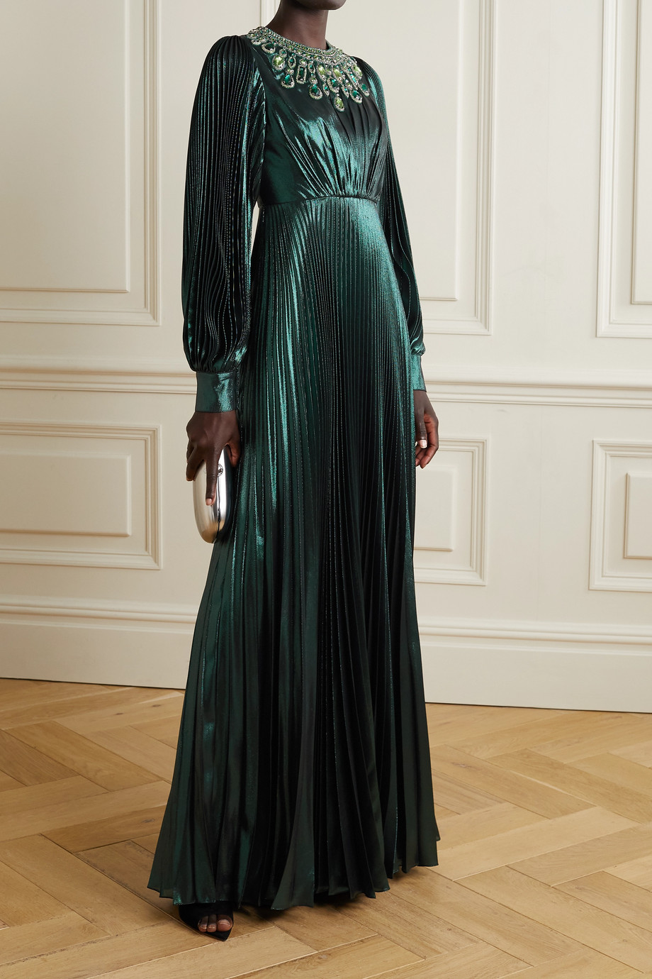 ANDREW GN Crystal-embellished pleated silk-blend lamé gown