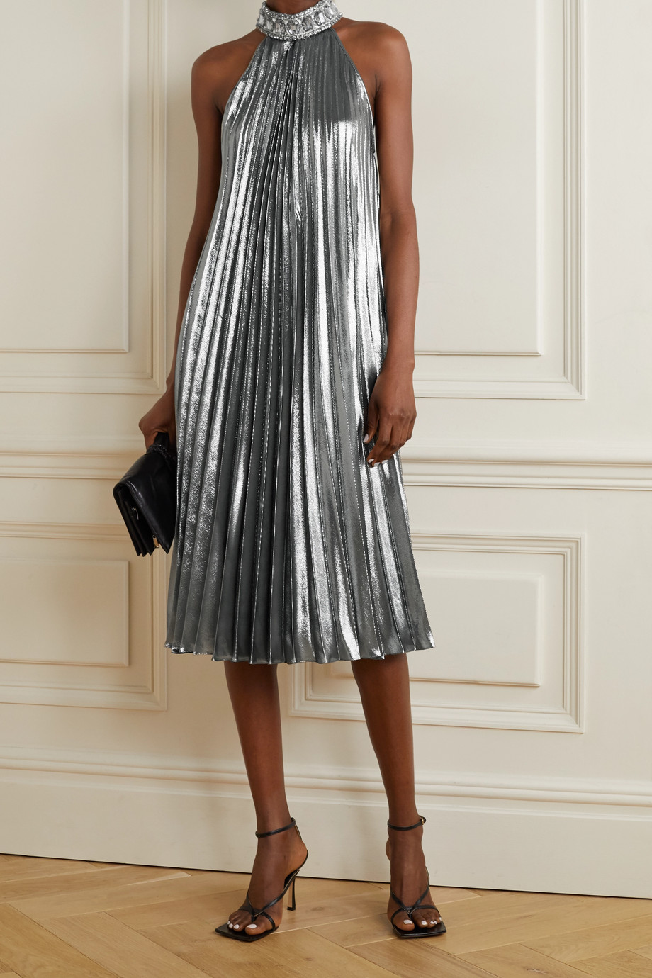 ANDREW GN Crystal-embellished pleated silk-blend lamé midi dress