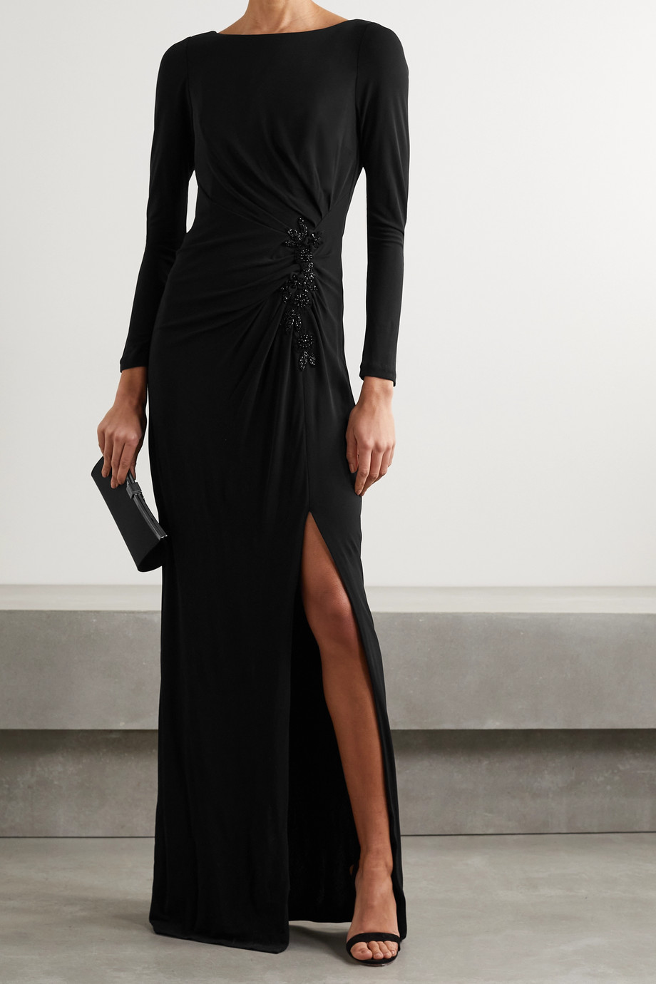 MARCHESA NOTTE Bead-embellished appliquéd ruched stretch-jersey gown