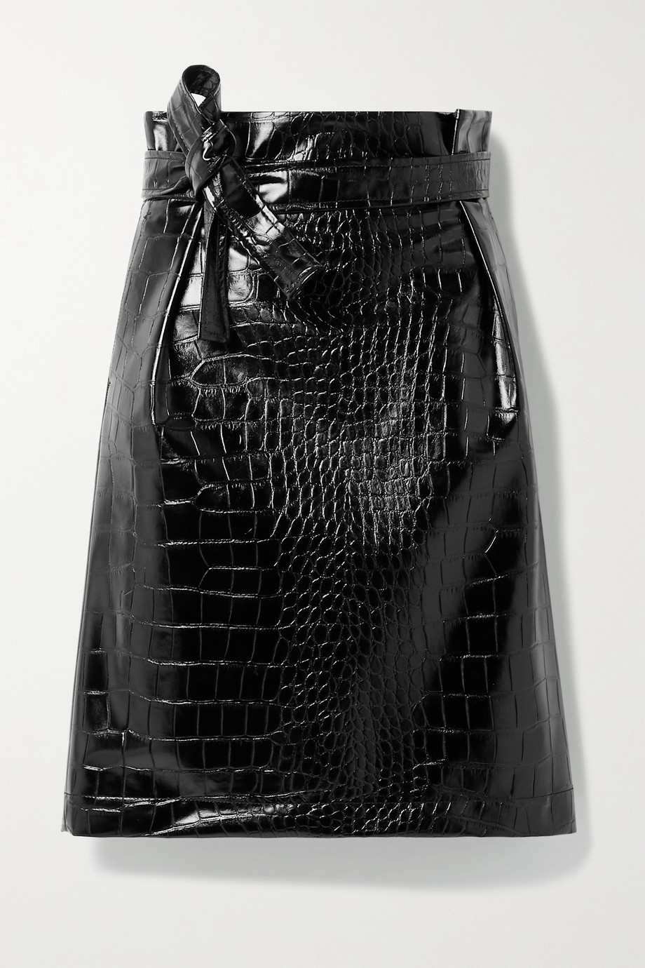 PHILOSOPHY DI LORENZO SERAFINI Belted croc-effect vegan patent-leather skirt