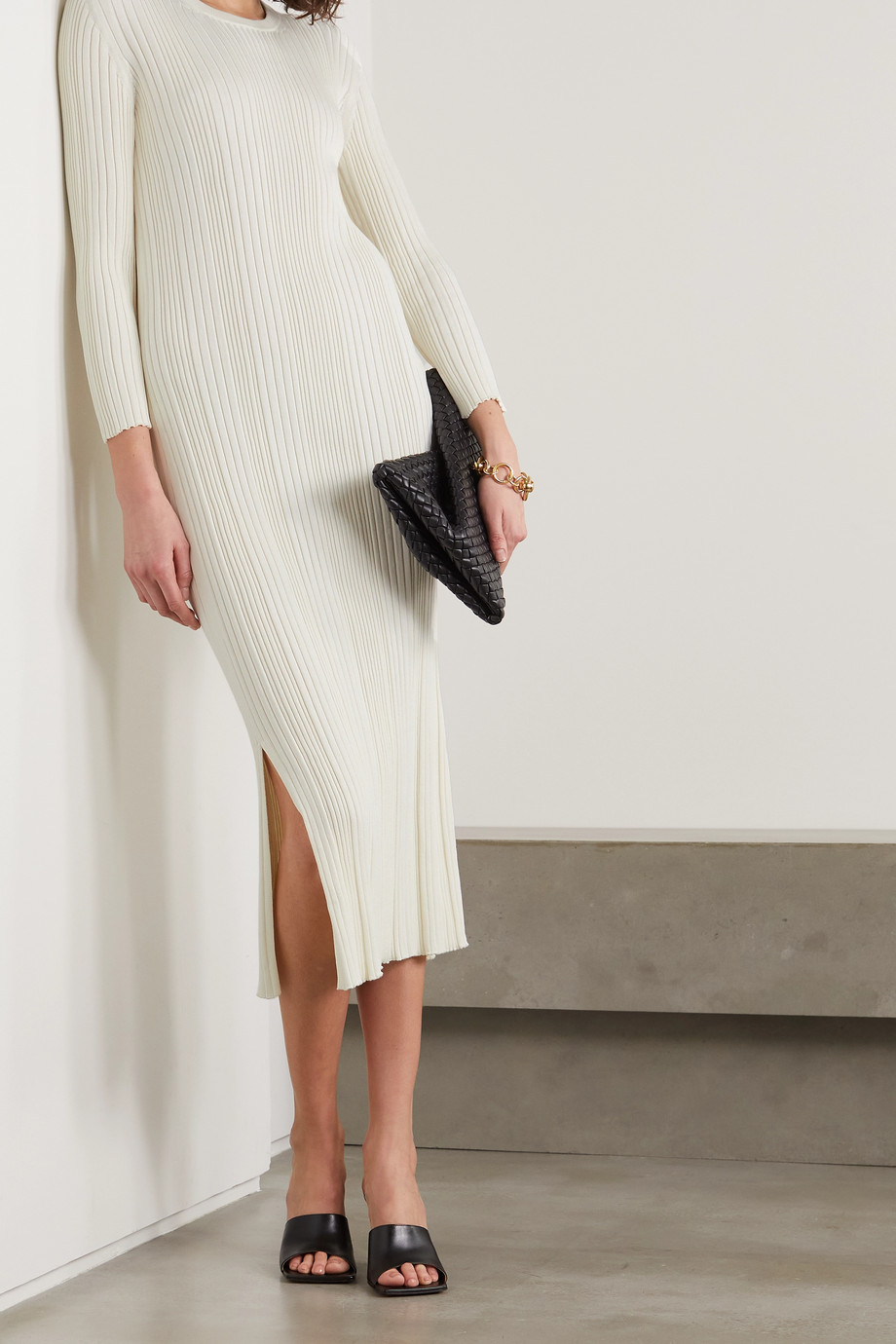 CASASOLA + NET SUSTAIN Luiza ribbed silk and cotton-blend midi dress