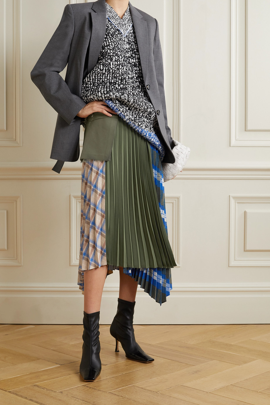 ANDERSSON BELL Paneled asymmetric checked twill, crepe and cotton-canvas skirt