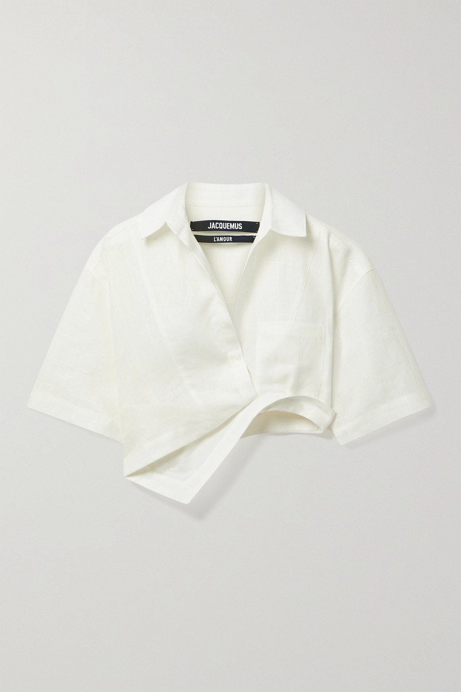JACQUEMUS Capri asymmetric cropped cotton-blend jacquard shirt
