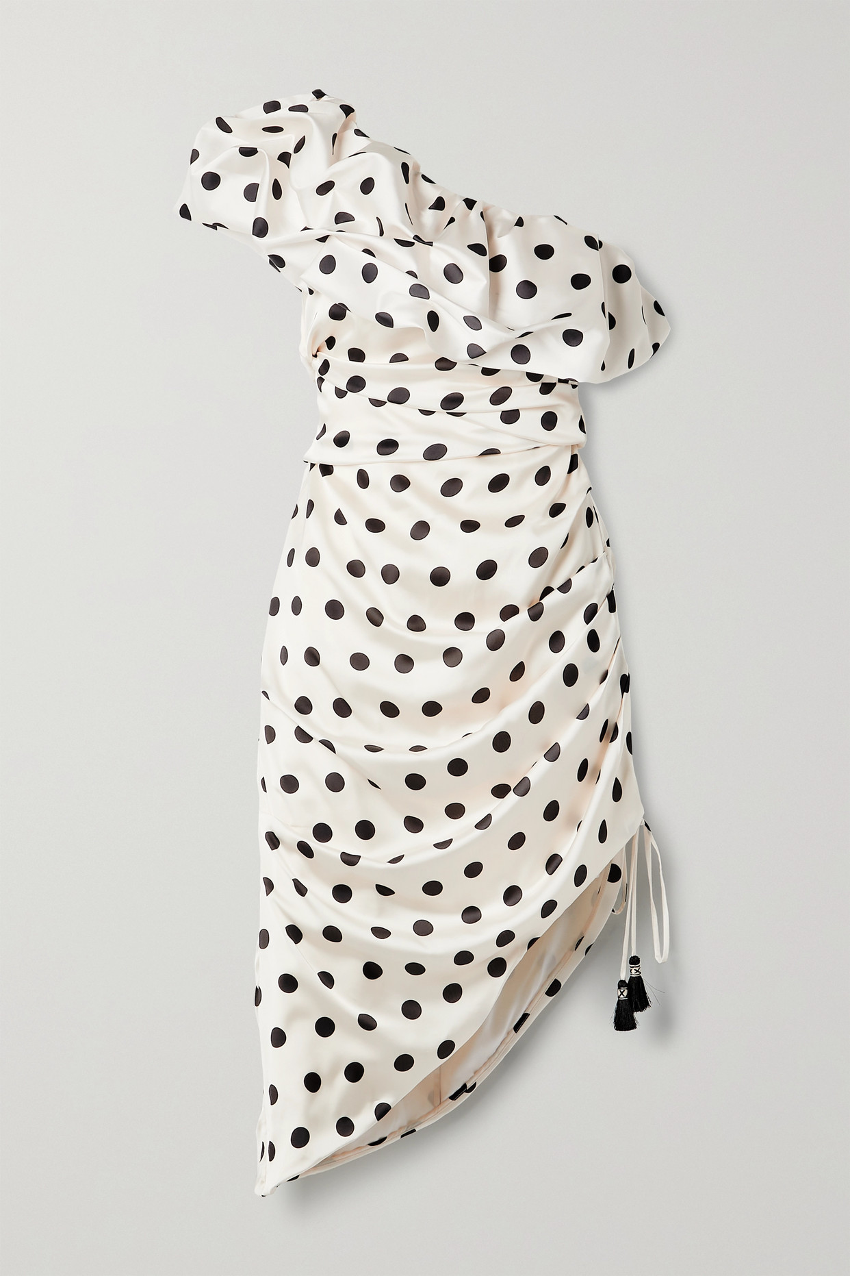 JOHANNA ORTIZ - 【net Sustain】unprecedented 单肩波点缎布中长连衣裙 - 米色 - US0