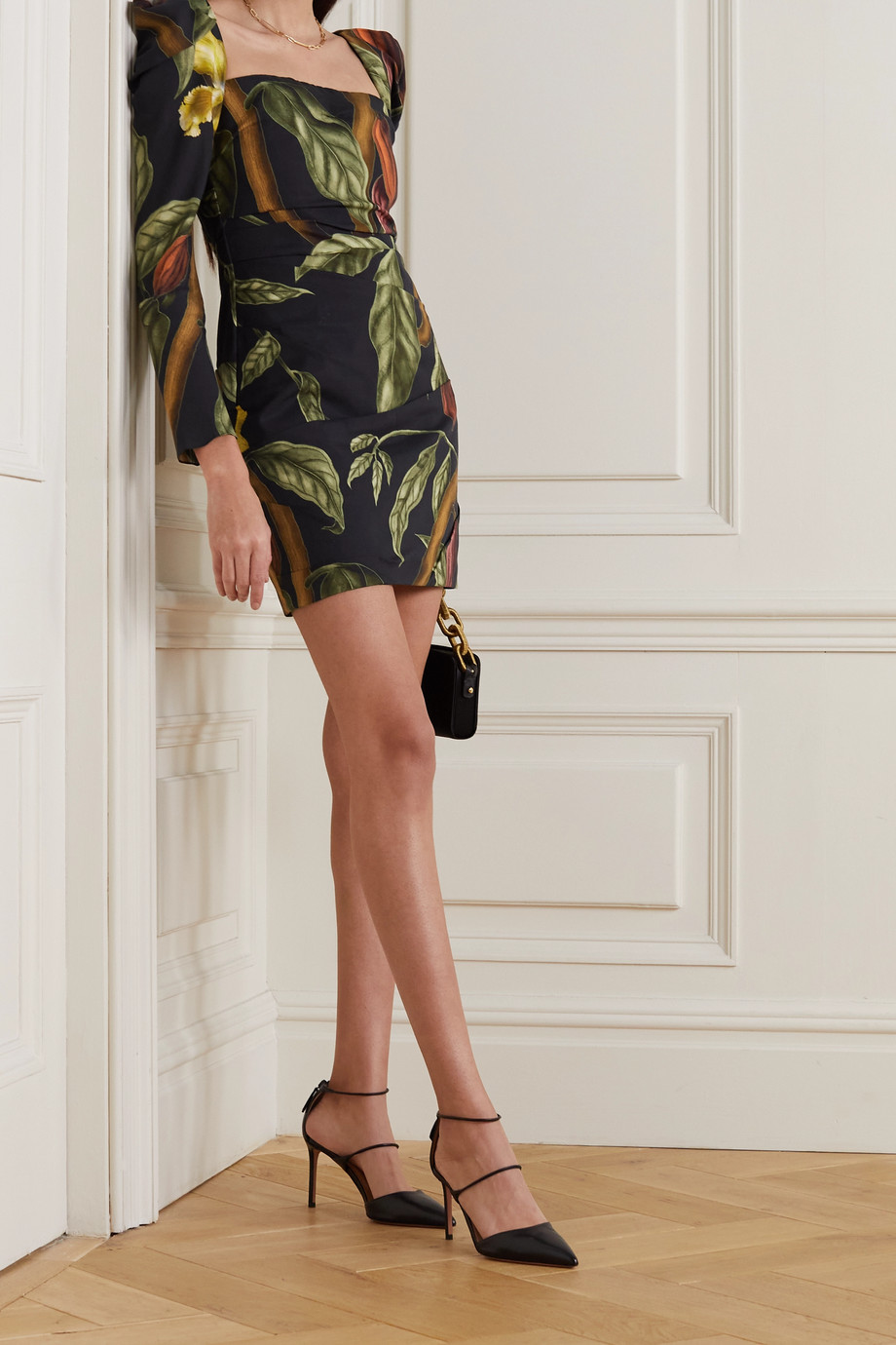 JOHANNA ORTIZ + NET SUSTAIN Gathering Nature ruched floral-print TENCEL mini dress