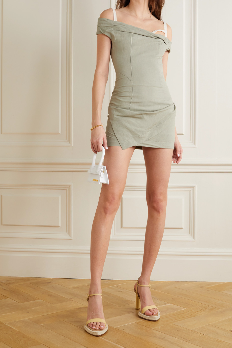 JACQUEMUS Foglio off-the-shoulder gathered linen-blend mini dress