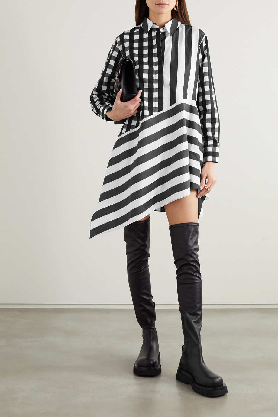MARQUES' ALMEIDA + NET SUSTAIN ReM'Ade asymmetric printed cotton-poplin shirt dress