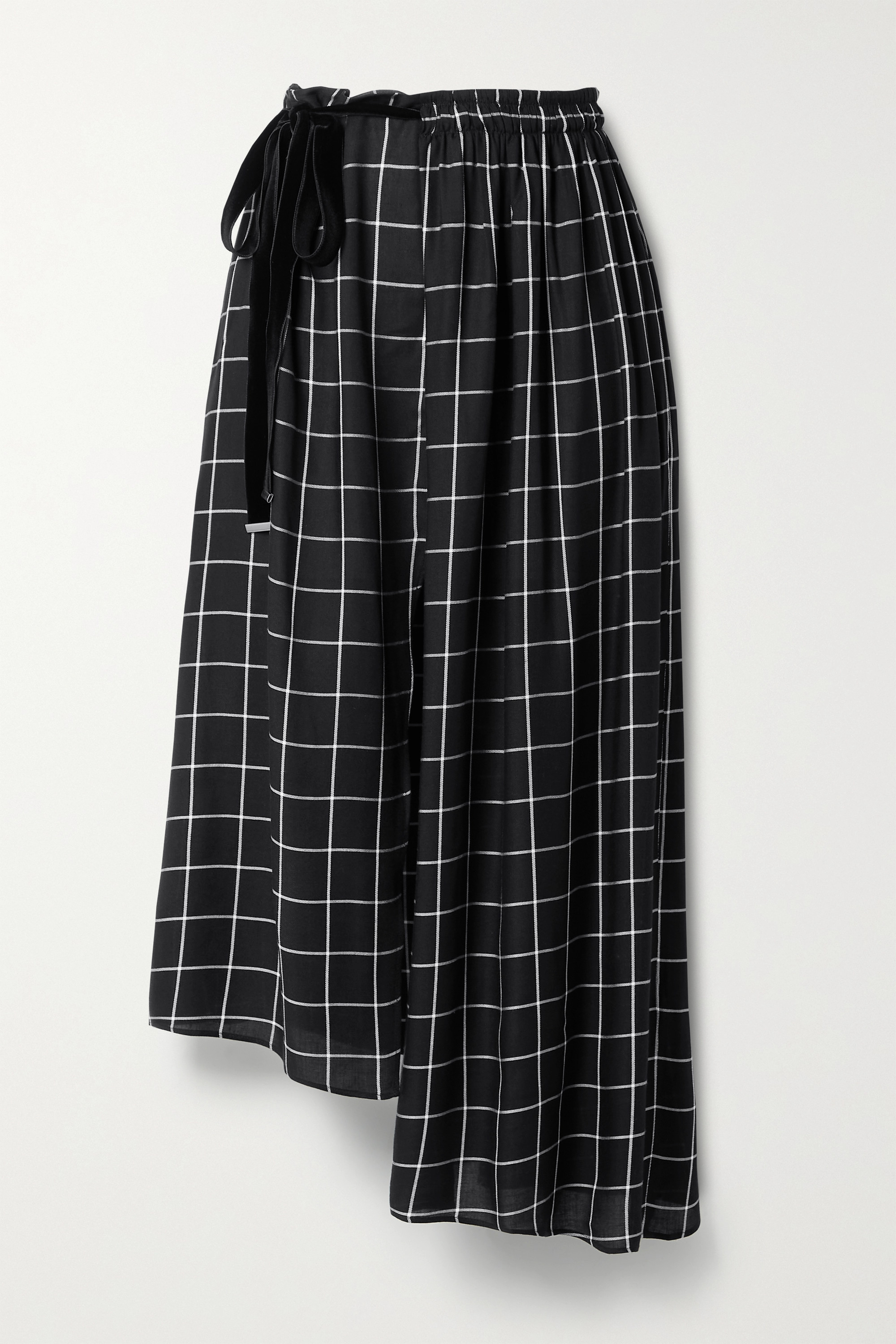 MOTHER OF PEARL + NET SUSTAIN Ruby asymmetric wrap-effect checked twill midi skirt