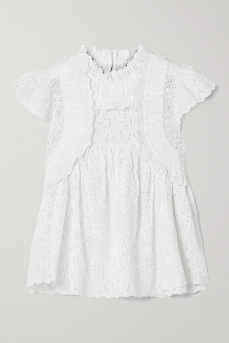 SEA Ingrid ruffled crochet-trimmed broderie anglaise cotton blouse