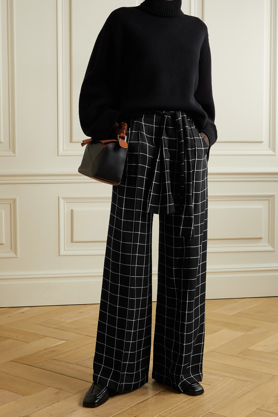 MOTHER OF PEARL + NET SUSTAIN Wendy belted checked twill wide-leg pants