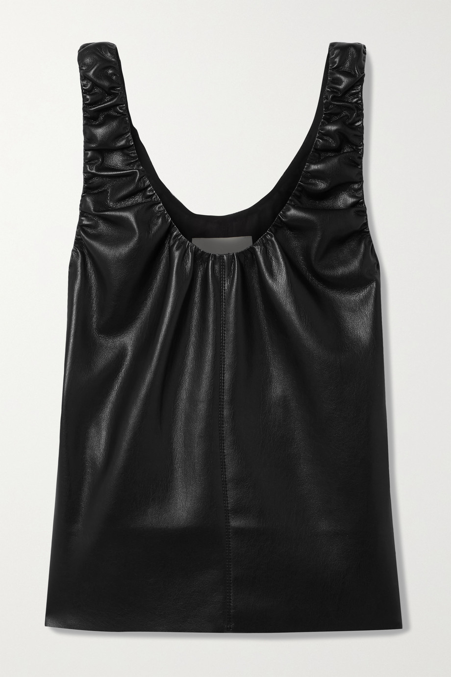 NANUSHKA Yael gathered vegan leather top