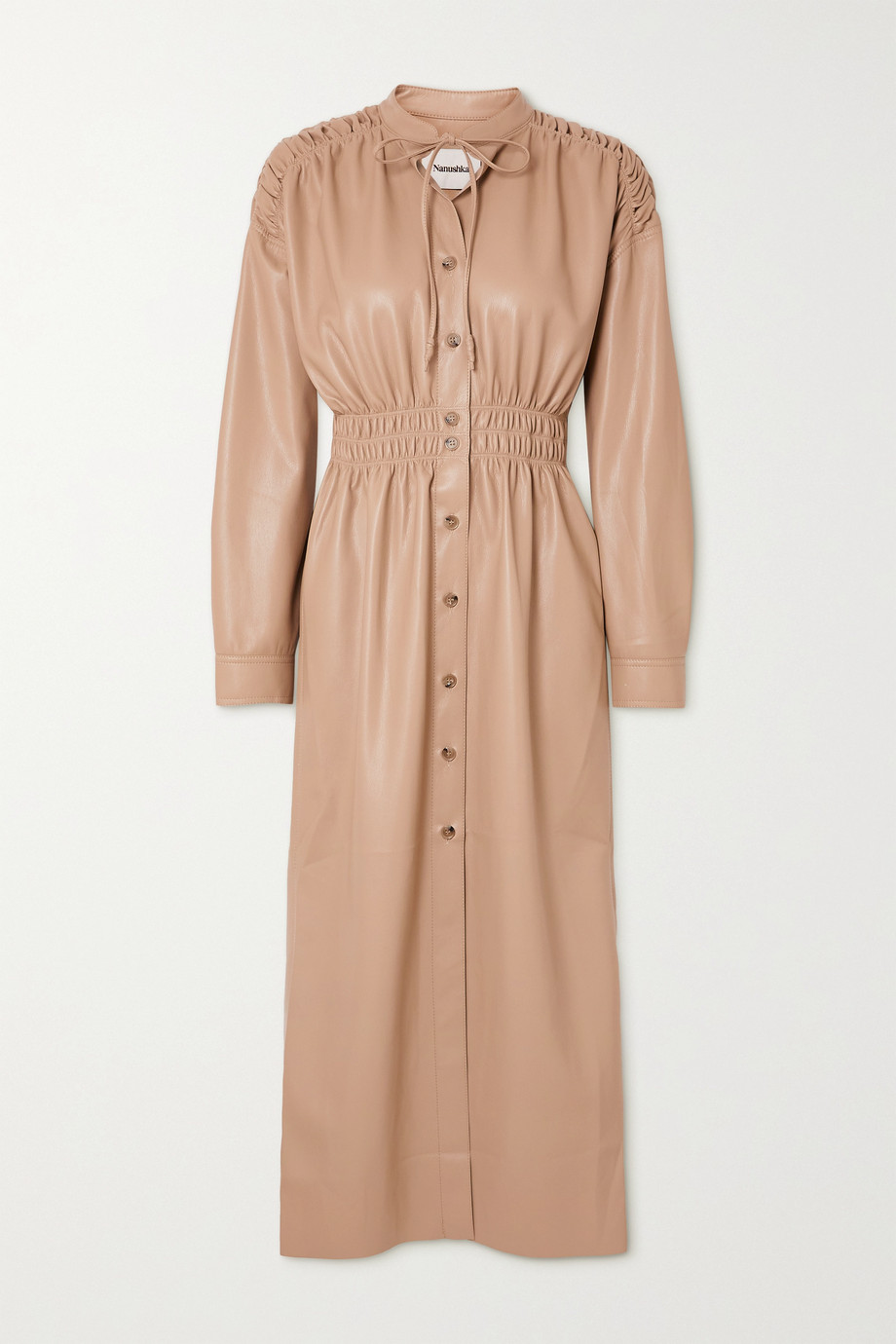 NANUSHKA Jayce ruched vegan leather shirt dress